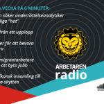 Dekorativ bild med Arbetarens logotyp och rubrikerna för veckans avsnitt av podcasten 6 minuter.