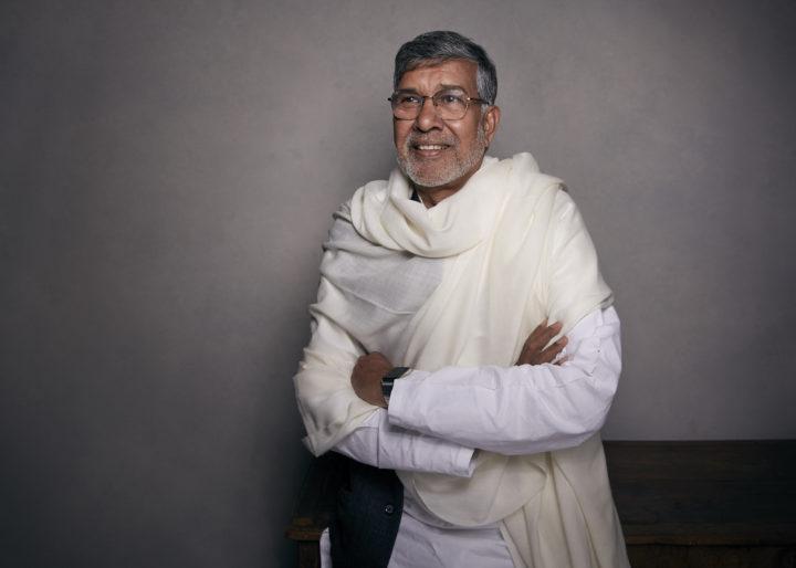 Porträttbild på Kailash Satyarthi som 2014 fick Nobels fredspris
