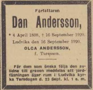 Gammalt tidningsurklipp med dödsannons för författaren Dan Andersson