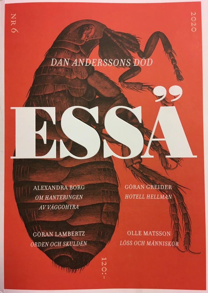 Framsidan till Essä nr 6 är röd med vit text och har en stor detaljerad illustration av en vägglus. Titeln för temat är Dan Anderssons död.