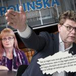 Montage. Sjukhusdirektören på Karolinska pekar med hela handen. Under honom ett kritiserat citat. I Carina Lenngren, Kommunal