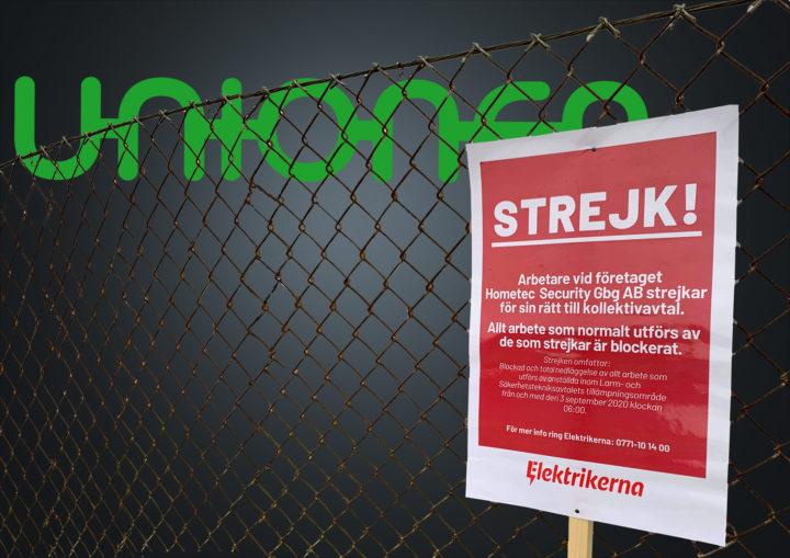 Bildmontage där Unionens logga syns bakom ett staket med en strejkskylt från Elektrikerna framför.