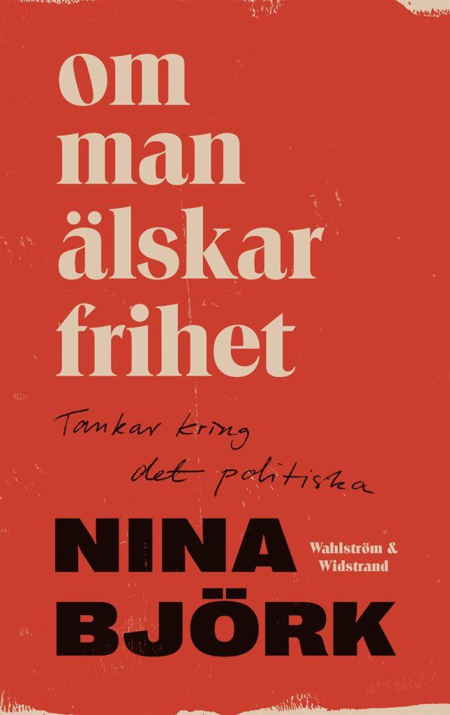Bokomslaget till boken, rött med titel i vit text och författarnamn i svart text.