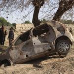 Bilen som exploderade i helgens våldsamma attack i Aghanistan.