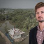 Troy Enekvist framför en översvämmad ö