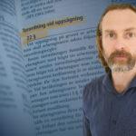 Lagboken uppslagen vid paragrafen för turordning vid uppsägning, samt ett porträtt på Mikael Hansson, arbetsrättsexpert.