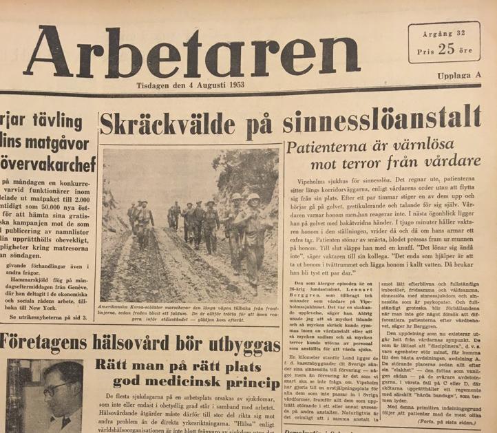 Arbetarens framsida den 4 augusti 1953.