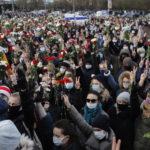 Demonstranter på gatorna i Minsk