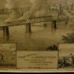Gammal illustration över staden Homestead. Båtar syns brinna på vattnet. En text lyder The great battle of Homestead.