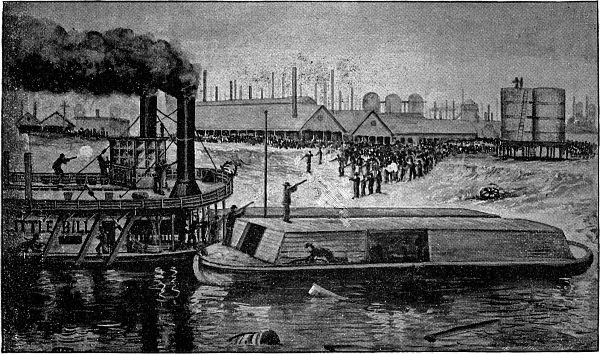 Gammal teckning. En båt försöker lägga till i en hamn. På båten står flera män med gevär och på stranden väntar en folkmassa. I bakgrunden syns många skorstenar.