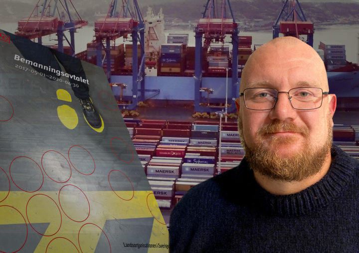 Montage av Hamnarbetarförbundets Erik Helgeson och LO:s bemanningsavtal framför en bakgrund av Göteborgs containerhamn