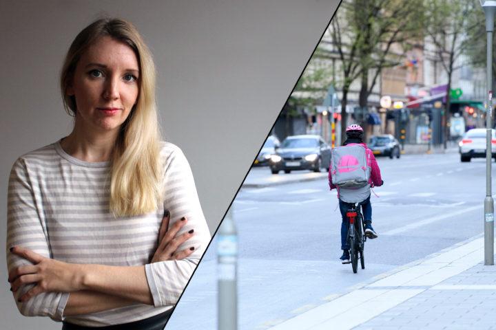 Montage med bild på Foodora-bud som cyklar längs en gata, samt bild på skribenten.
