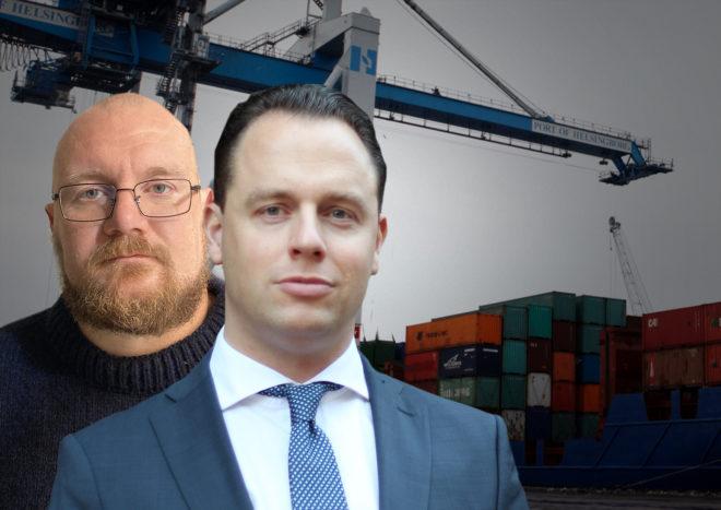 Montage av Sveriges Hamnars Joakim Ärlund och Hamnarbetarförbundets Erik Helgeson framför en kran och containrar i Helsingborg hamn