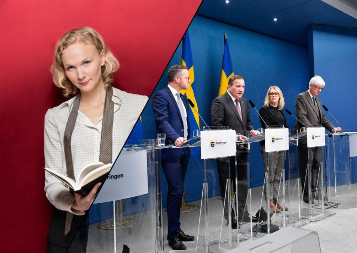 Skribenten porträtterad mot en röd bakgrund. Andra halvan av bilden föreställer en presskonferens om covid-restriktioner med bland andra Stefan Löfven.