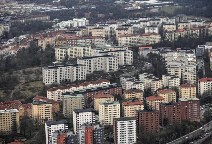 Flygbild över bostadshus på Gärdet i Stockholm