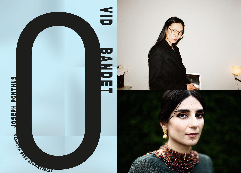 Kollage med bokomslaget till Vid bandet, samt författarporträtt på Mara Lee och Balsam Karam.