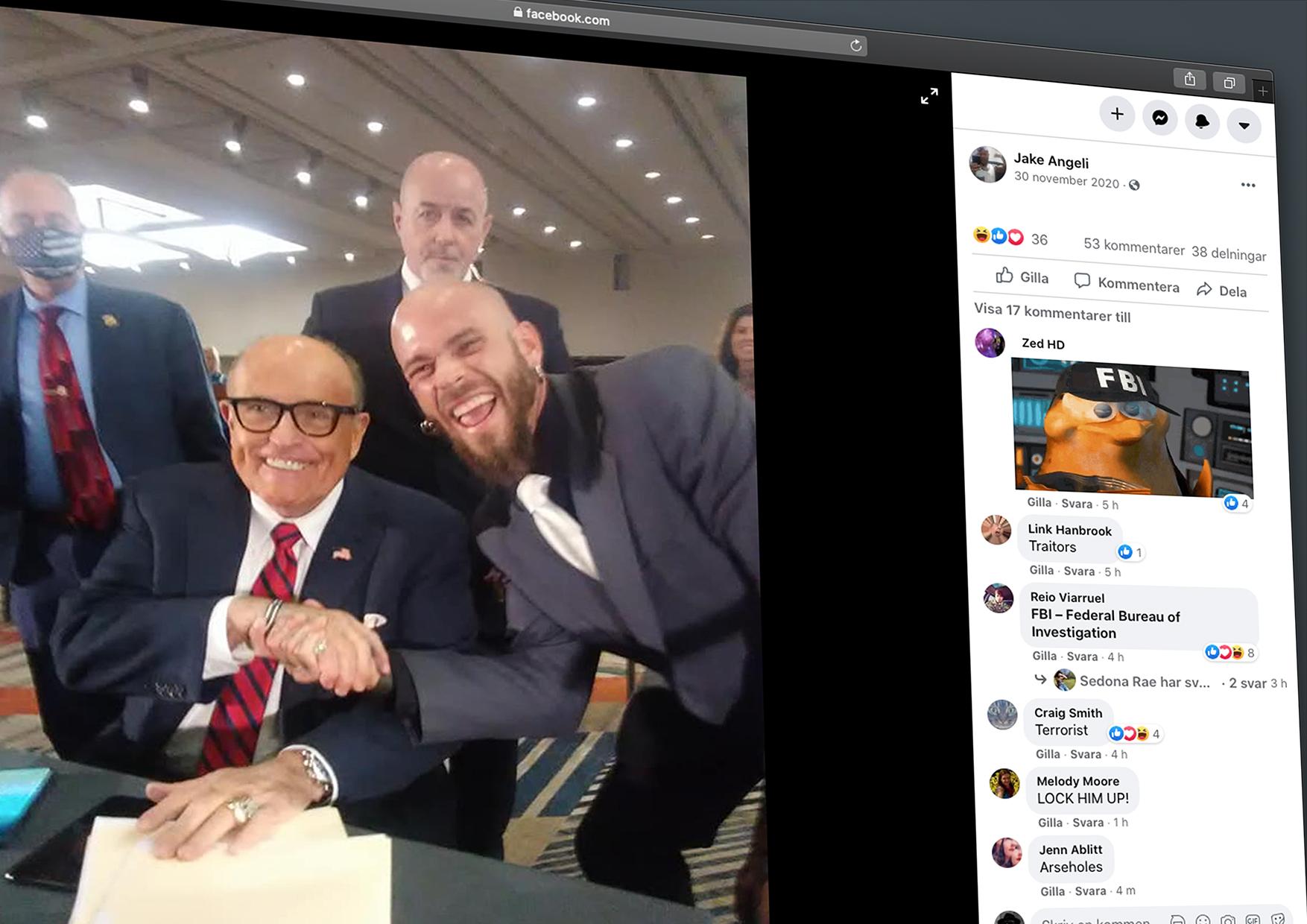 Jake Angeli skakar hand med Donald Trumps advokat Rudy Guiliani. Skärmdump från hans facebooksida.
