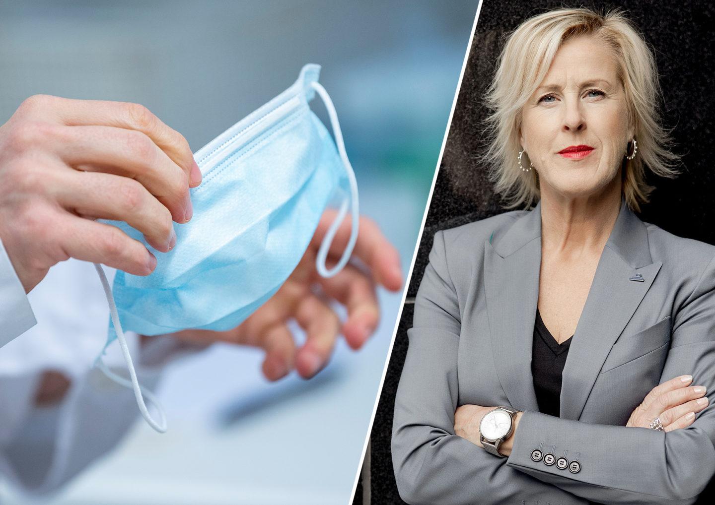 Montage av händer som håller munskydd och Åsa Fahlén, Lärarnas Riksförbund