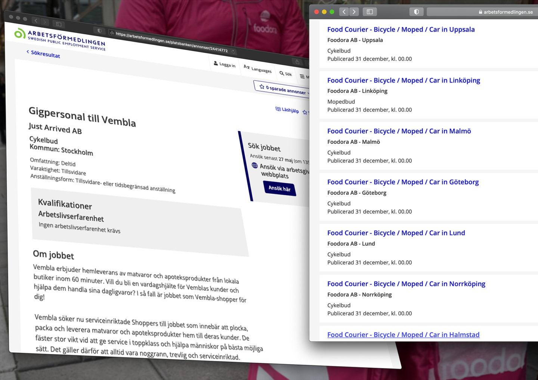 Annonser från platsbanken som söker gigjobbare till Gigstr och Foodora