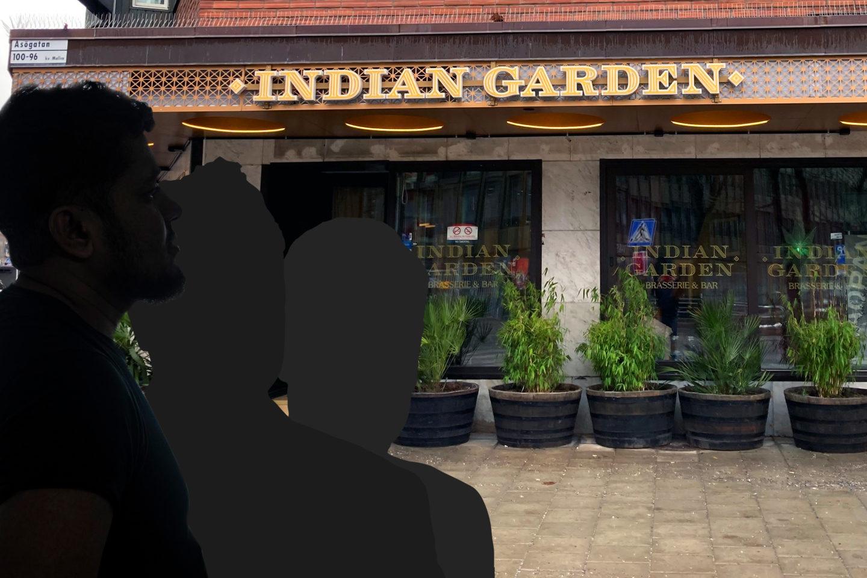 Tre siluetter av anonymiserade tidigare anställda framför en av Indian Gardens restauranger. Montage.