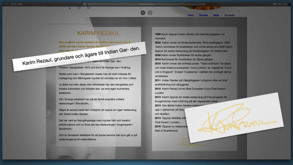Skärmdump av Indian Garden Matlådas hemsida där Razaul Karim anger sig vara ägare