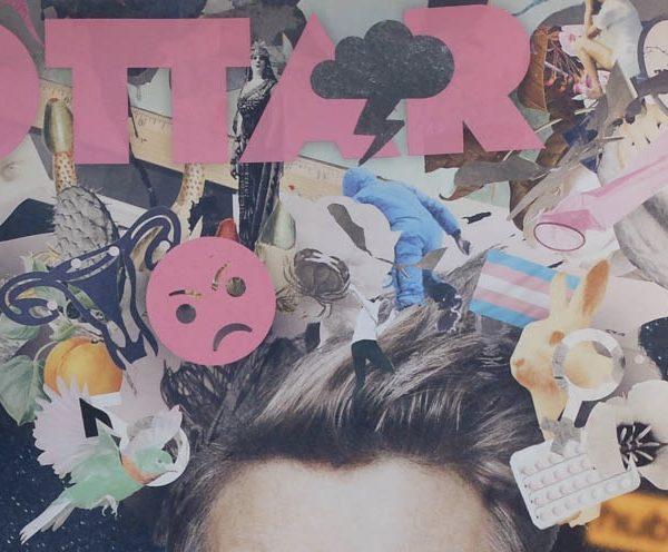 Detalj från senaste omslaget av Ottar. Ottar i rosa text samt en mängd symboler.