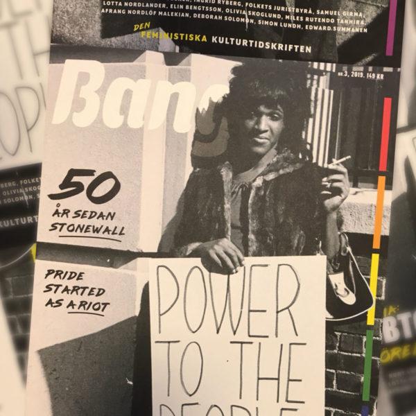Framsidan på Bangs sista nummer visar ett svartvit foto av hbtq-aktivisten Marsha P Johnson