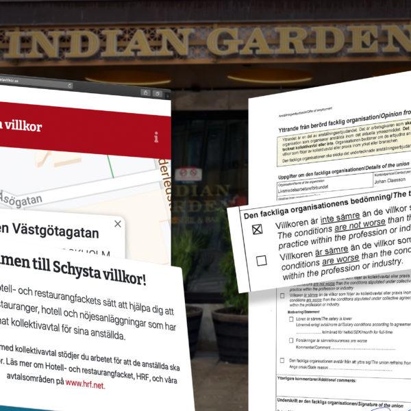 Montage av Indian Garden på Schysta listan från HRF:s hemsida och Livs yttrande framför en bild av Indian Gardens restaurang