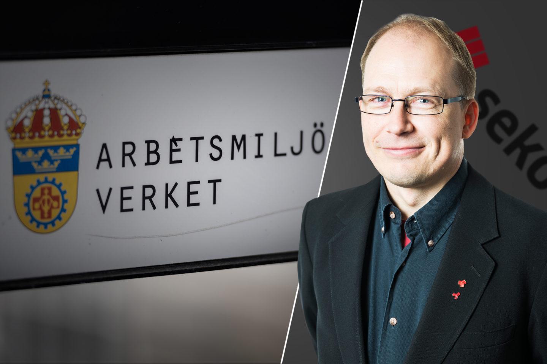 Montage: Seko Stockholms Patrik Öhrnell framför Arbetsmiljöverkets skylt