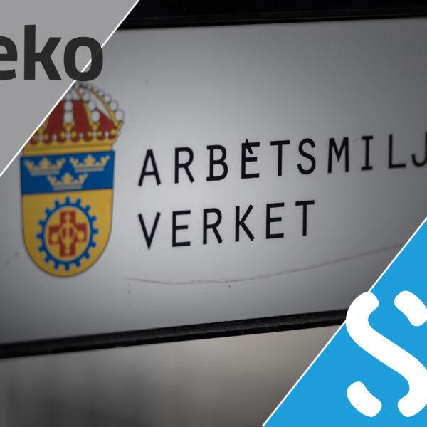 Montage av Sekos och ST:s logotyper på varsin sida av Arbetsmiljöverkets skylt
