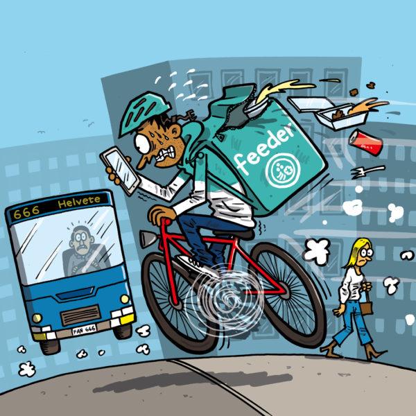 Illsustration av Max Gustafsson. Ett matbud cyklar snabbt, med ögonen på mobilen och mat flygande ur ryggsäcken.