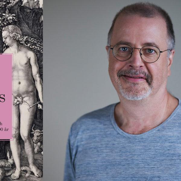 Jonathan Lindström med en blå tröja mot grå bakgrund, samt bokomslaget till Alla tiders sex.