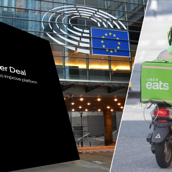 Montage av Ubers vitbok mot bakgrund av EU-parlamentet i Bryssel och ett matbud från UberEats