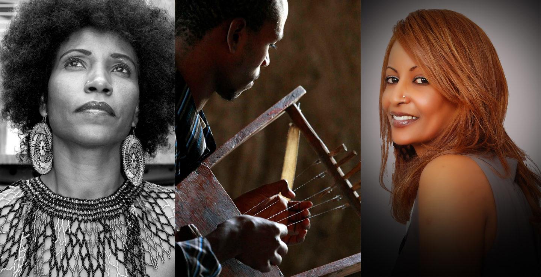 Tre sammansatta bilder. Ett svartvitt porträtt av sångerskan Faytinga som tittar uppåt, en bild på en man som spelar det eritreanska harp-instrumentet krar, och Helen Meles, leendes mot kameran.