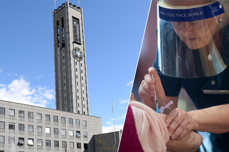 Montage av Västerås stadshus och vårdpersonal som vaccinerar