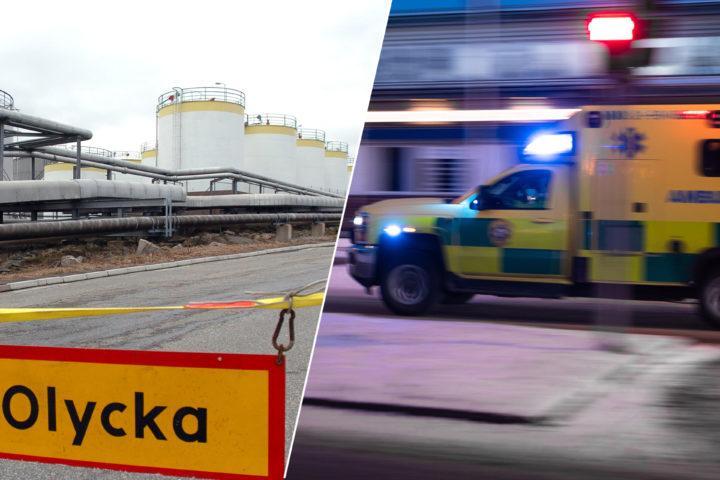 Montage av Göteborgs oljehamn och Ambulans i ilfart