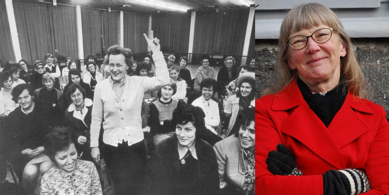 Susanne Fransson i röd kappa bredvid en bild på städerskor från en städerskestrejk på 70-talet. En kvinna lyfter två fingrar i luften.