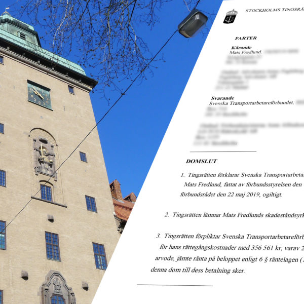 Montage av Stockholms Tingsrätt och domen