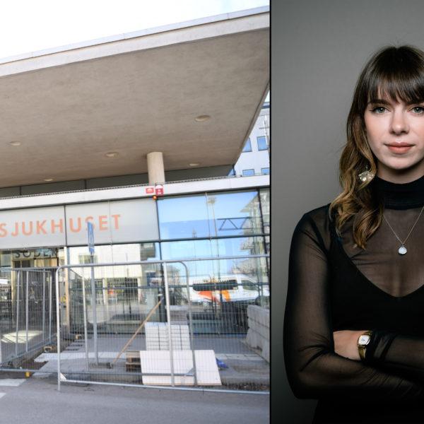 Bildkollage med entrén till Södersjukhuset och en porträttbild på Elsa Alm med armarna i kors.