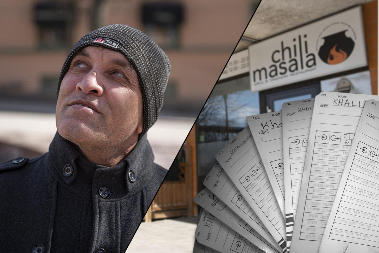 Porträtt på Khalid Hussein, restaurangens ingång och timrapporter. Kollage.