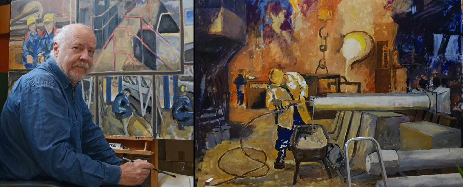 Roine Jansson sittandes framför en av sina målningar.
