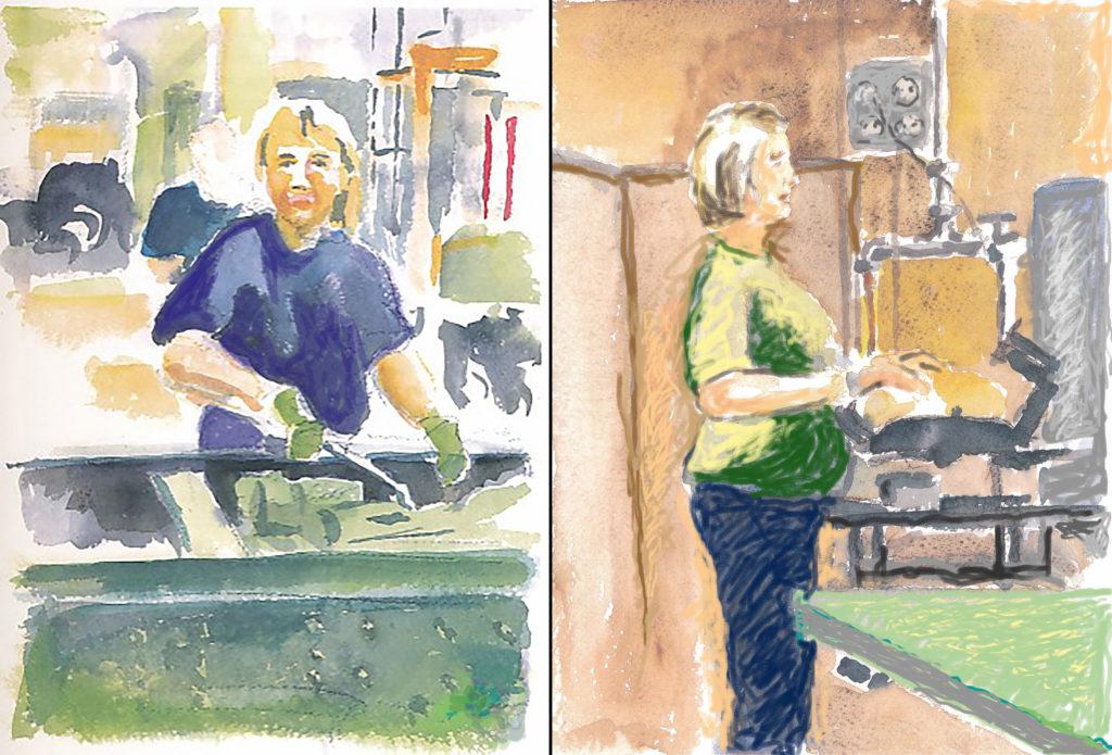 Två av Roine Janssons tavlor föreställande kvinnor som arbetar med montering på Scania.