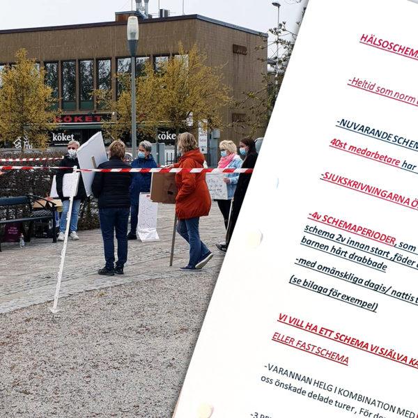 Vård och omsorgspersonal demonstrerar mot hälsoscheman på torget i Bromölla.