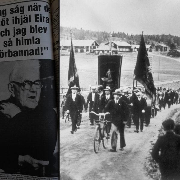 """Tidningsklipp med foto på Gustav Berg 83, och rubriken """"Jag såg när de sköt ihjäl Eira och jag blev så himla förbannad. Samt en bild på demonstrationståget i Ådalen 1931."""
