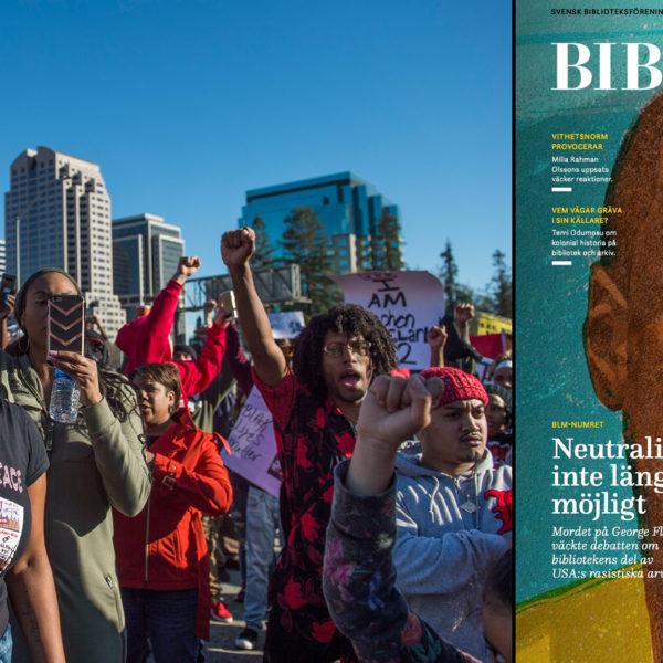 Black lives matterdemonstranter lyfter sina knutna händer, samt omslaget av senaste Biblioteksbladet som pryds av ett illustrerat porträtt av George Floyd.