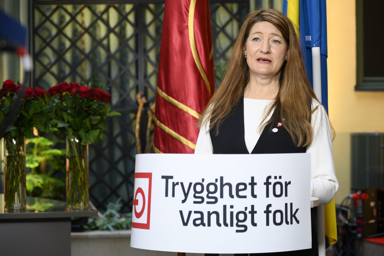 LO:s ordförande Susanne Gideonsson håller tal på 1 maj