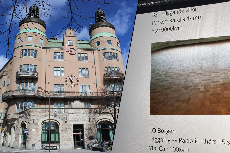 LO-borgen och en bild på Nordiska golvs referenssida