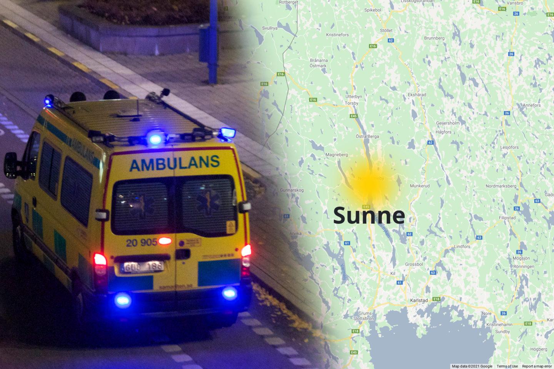 Ambulans tillsammans med en karta där Sunne är utmärkt med en gul prick.