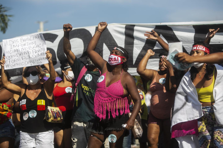 Deminstration mot Bolsonaro i Brasilien