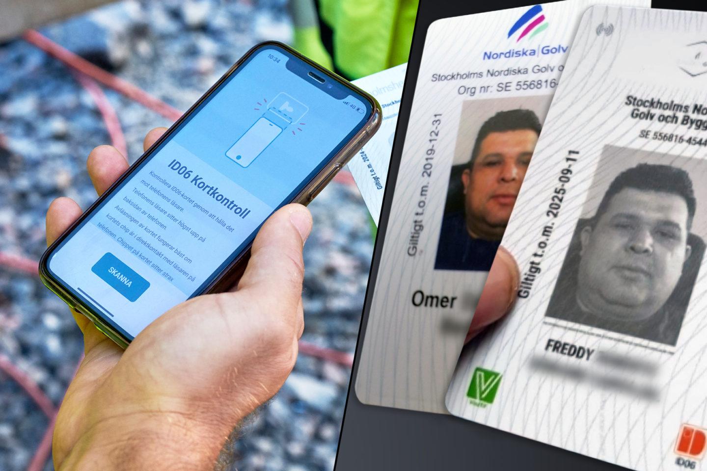 En kontrollant kollar ett id06-kort, till höger två kort från Nordiska Golv